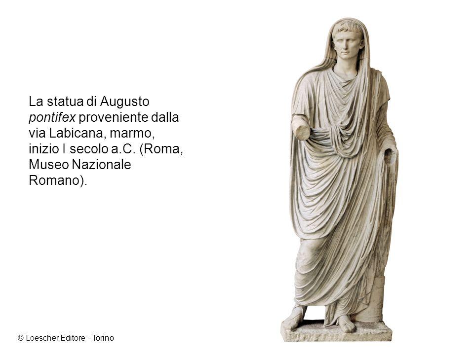La statua di Augusto pontifex proveniente dalla via Labicana, marmo, inizio I secolo a.C. (Roma, Museo Nazionale Romano).