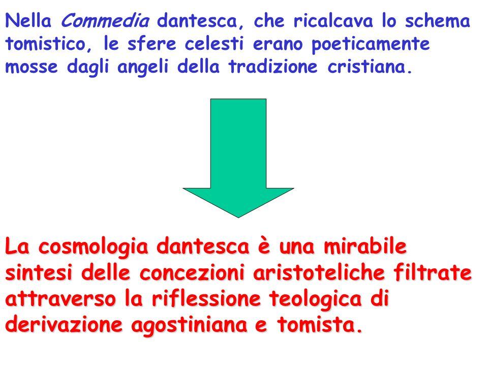 Nella Commedia dantesca, che ricalcava lo schema tomistico, le sfere celesti erano poeticamente mosse dagli angeli della tradizione cristiana.