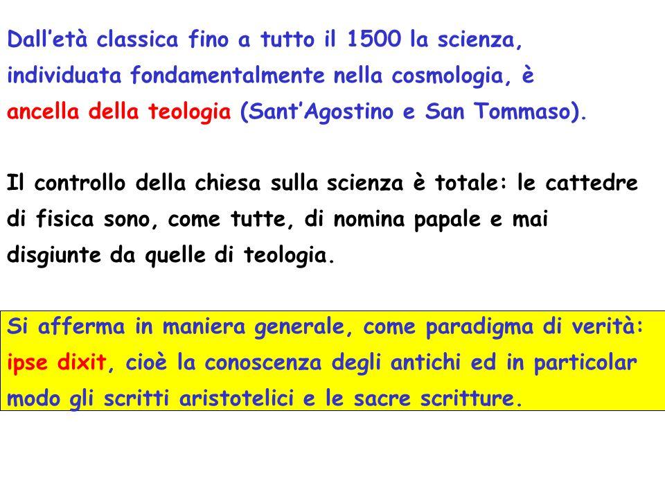 Dall'età classica fino a tutto il 1500 la scienza,