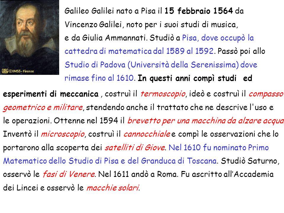 Galileo Galilei nato a Pisa il 15 febbraio 1564 da