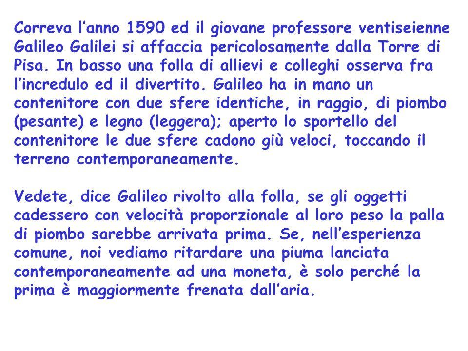 Correva l'anno 1590 ed il giovane professore ventiseienne Galileo Galilei si affaccia pericolosamente dalla Torre di Pisa. In basso una folla di allievi e colleghi osserva fra l'incredulo ed il divertito. Galileo ha in mano un contenitore con due sfere identiche, in raggio, di piombo (pesante) e legno (leggera); aperto lo sportello del contenitore le due sfere cadono giù veloci, toccando il terreno contemporaneamente.