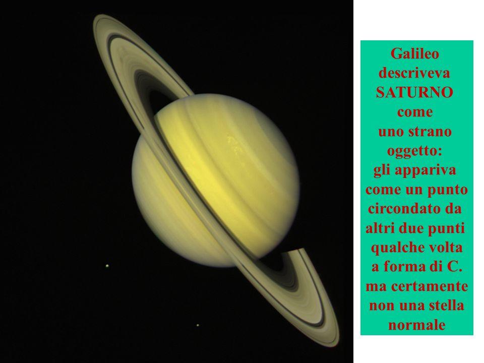 Galileo descriveva. SATURNO. come. uno strano. oggetto: gli appariva. come un punto. circondato da.