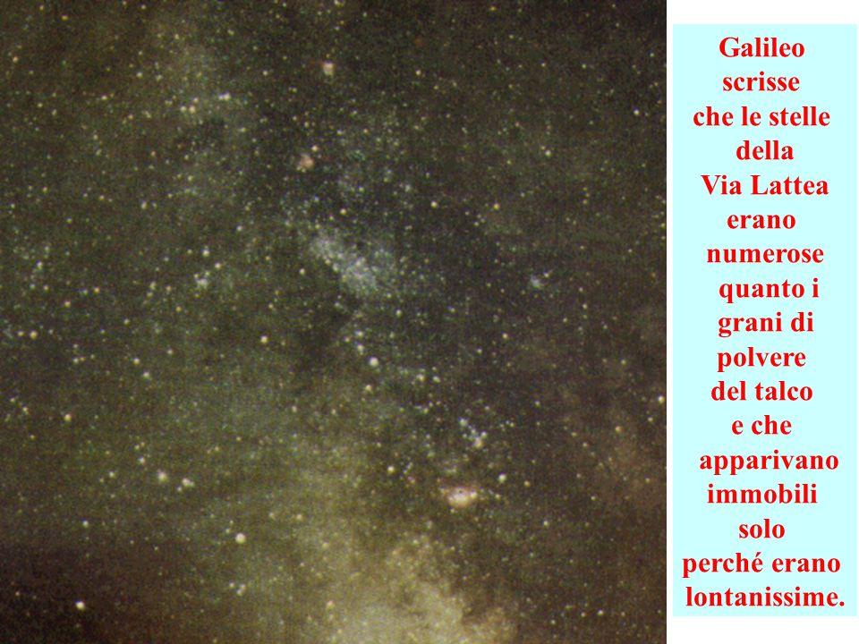 Galileo scrisse. che le stelle. della. Via Lattea. erano. numerose. quanto i. grani di. polvere.