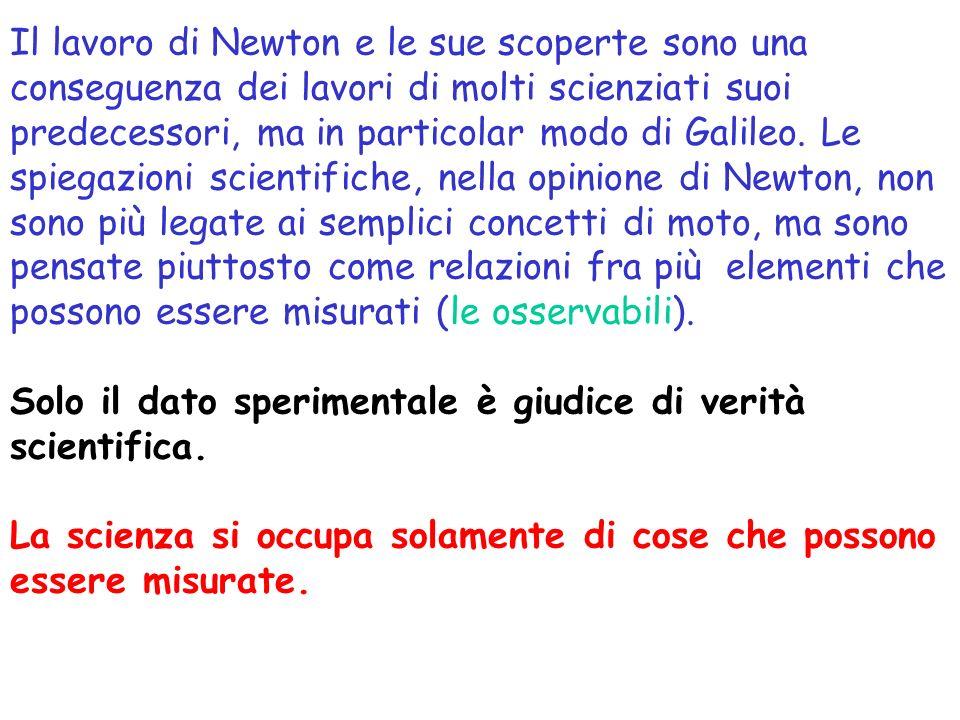 Il lavoro di Newton e le sue scoperte sono una conseguenza dei lavori di molti scienziati suoi predecessori, ma in particolar modo di Galileo. Le spiegazioni scientifiche, nella opinione di Newton, non sono più legate ai semplici concetti di moto, ma sono pensate piuttosto come relazioni fra più elementi che possono essere misurati (le osservabili).