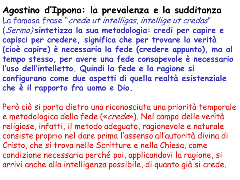 Agostino d'Ippona: la prevalenza e la sudditanza