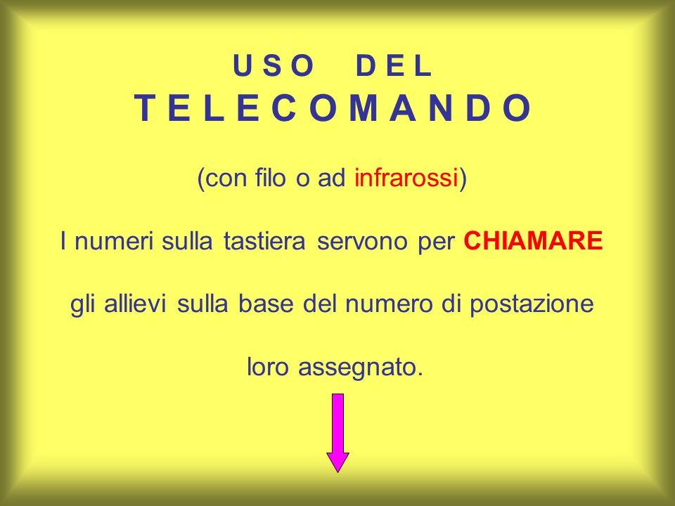 U S O D E L T E L E C O M A N D O (con filo o ad infrarossi) I numeri sulla tastiera servono per CHIAMARE gli allievi sulla base del numero di postazione loro assegnato.