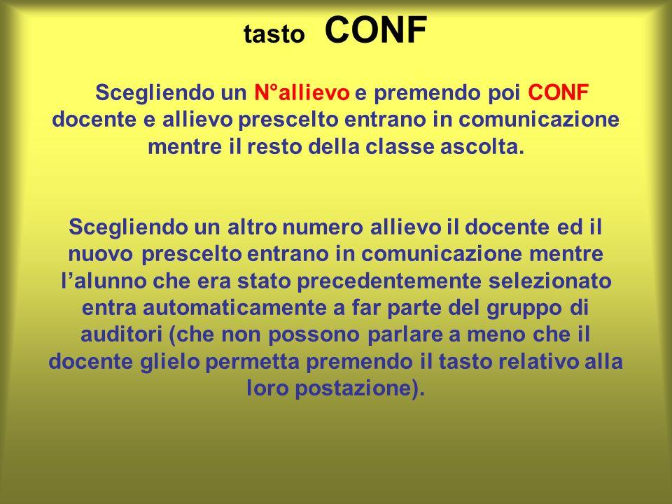 tasto CONF Scegliendo un N°allievo e premendo poi CONF docente e allievo prescelto entrano in comunicazione mentre il resto della classe ascolta.