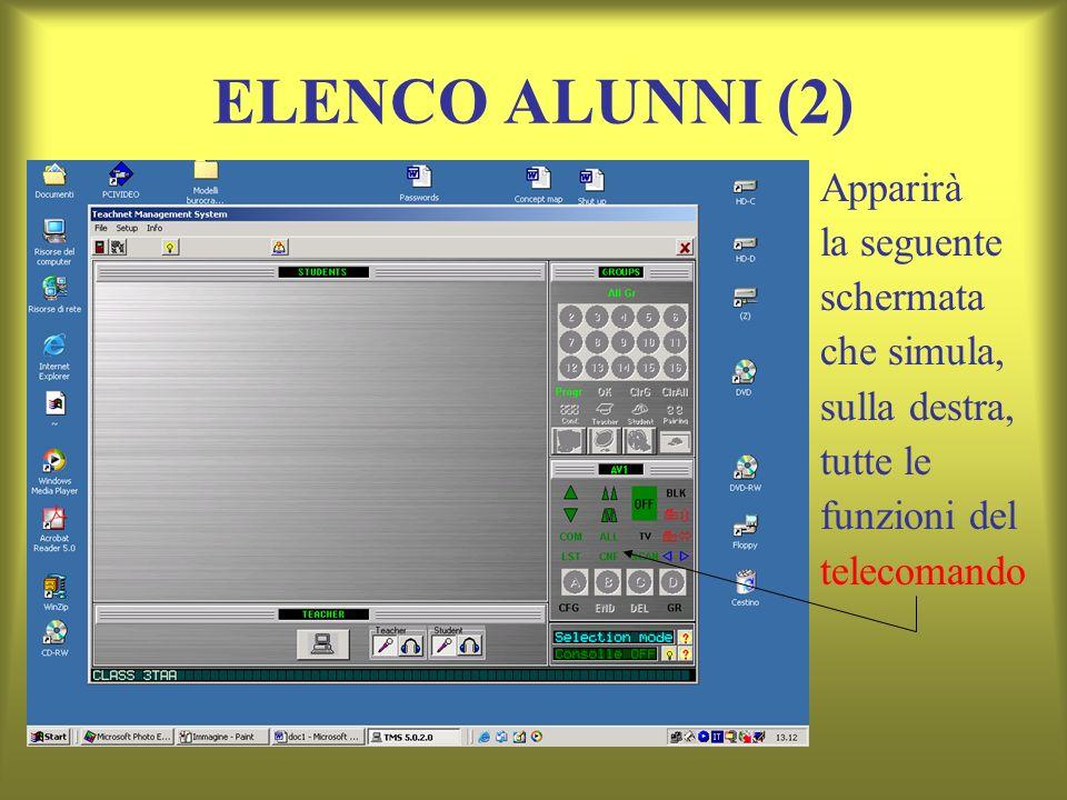 ELENCO ALUNNI (2) Apparirà la seguente schermata che simula,