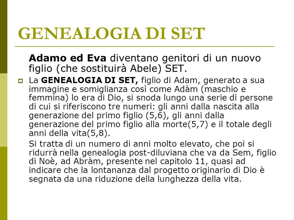 GENEALOGIA DI SET Adamo ed Eva diventano genitori di un nuovo figlio (che sostituirà Abele) SET.