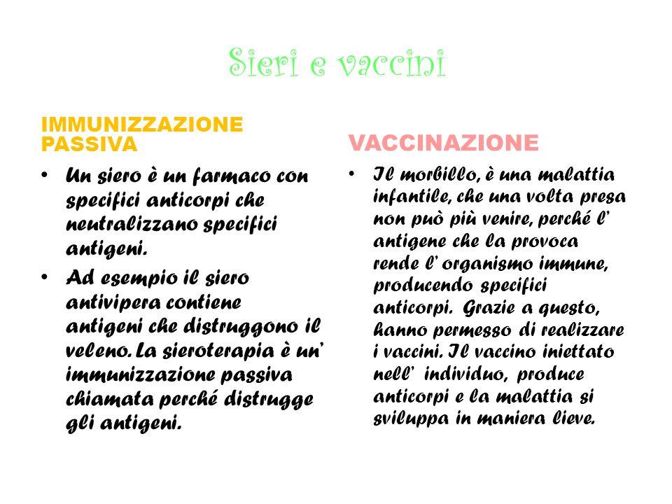 Sieri e vaccini VACCINAZIONE