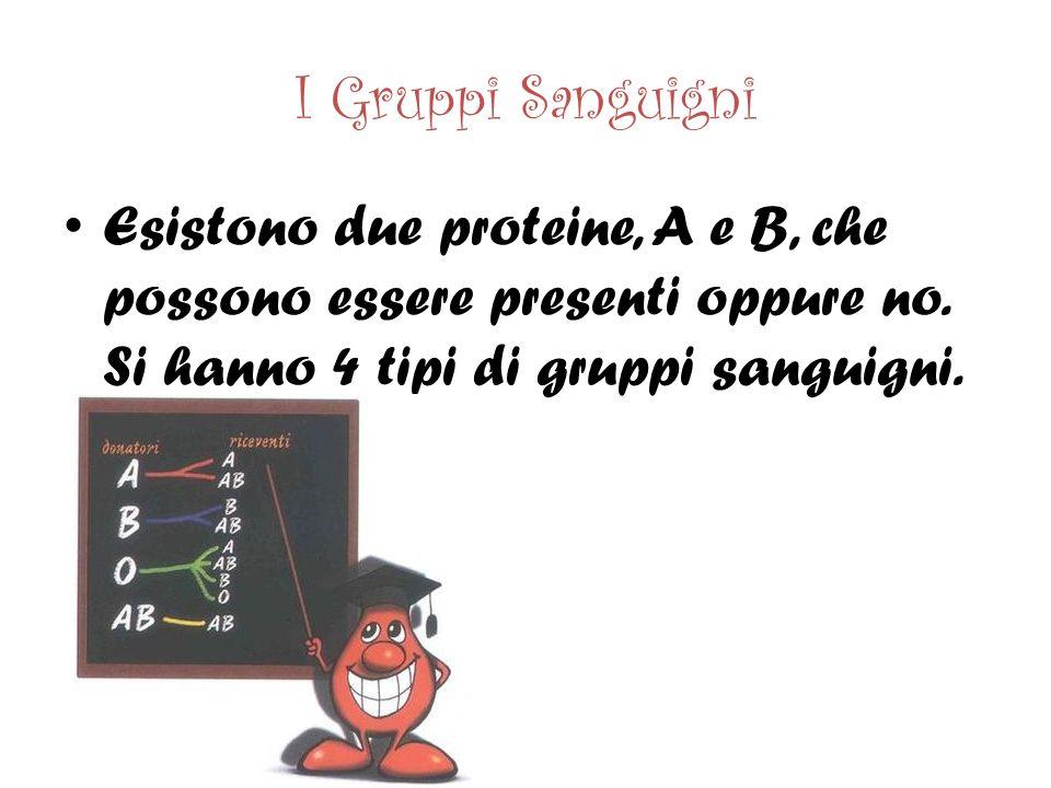 I Gruppi Sanguigni Esistono due proteine, A e B, che possono essere presenti oppure no.