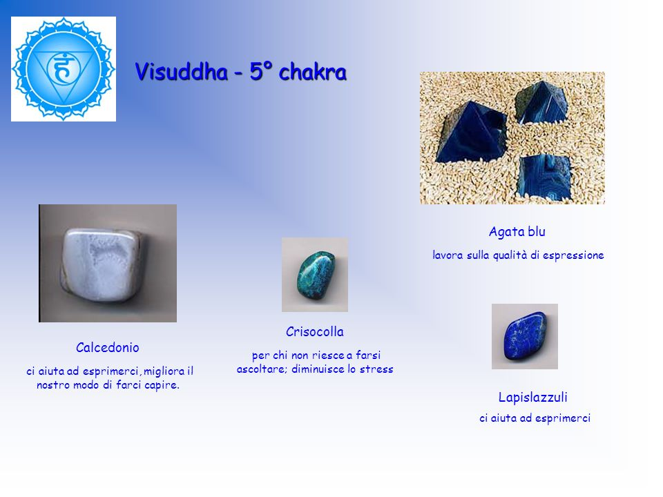 Visuddha - 5° chakra Agata blu lavora sulla qualità di espressione