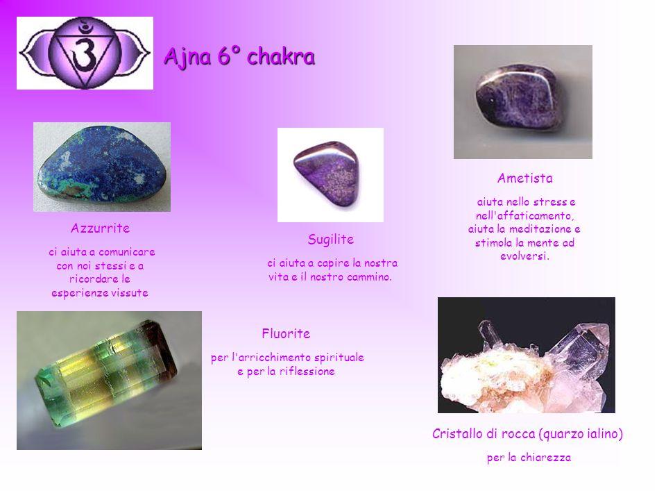 Ajna 6° chakra Ametista. aiuta nello stress e nell affaticamento, aiuta la meditazione e stimola la mente ad evolversi.