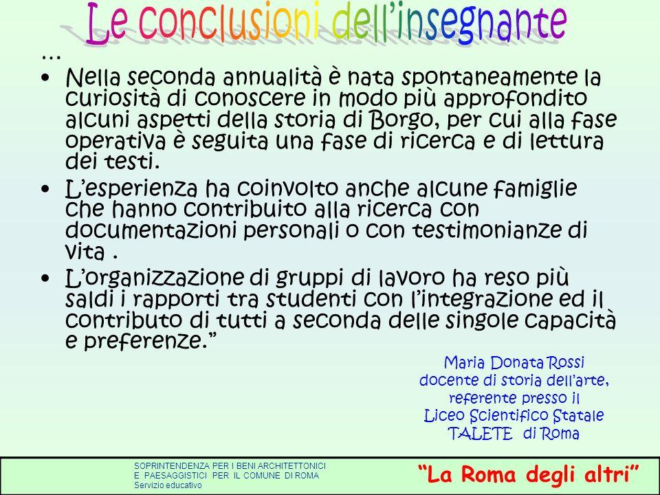Le conclusioni dell'insegnante