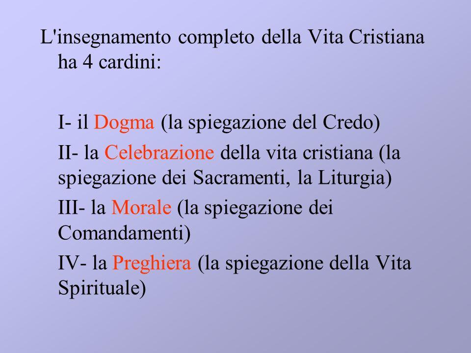L insegnamento completo della Vita Cristiana ha 4 cardini:
