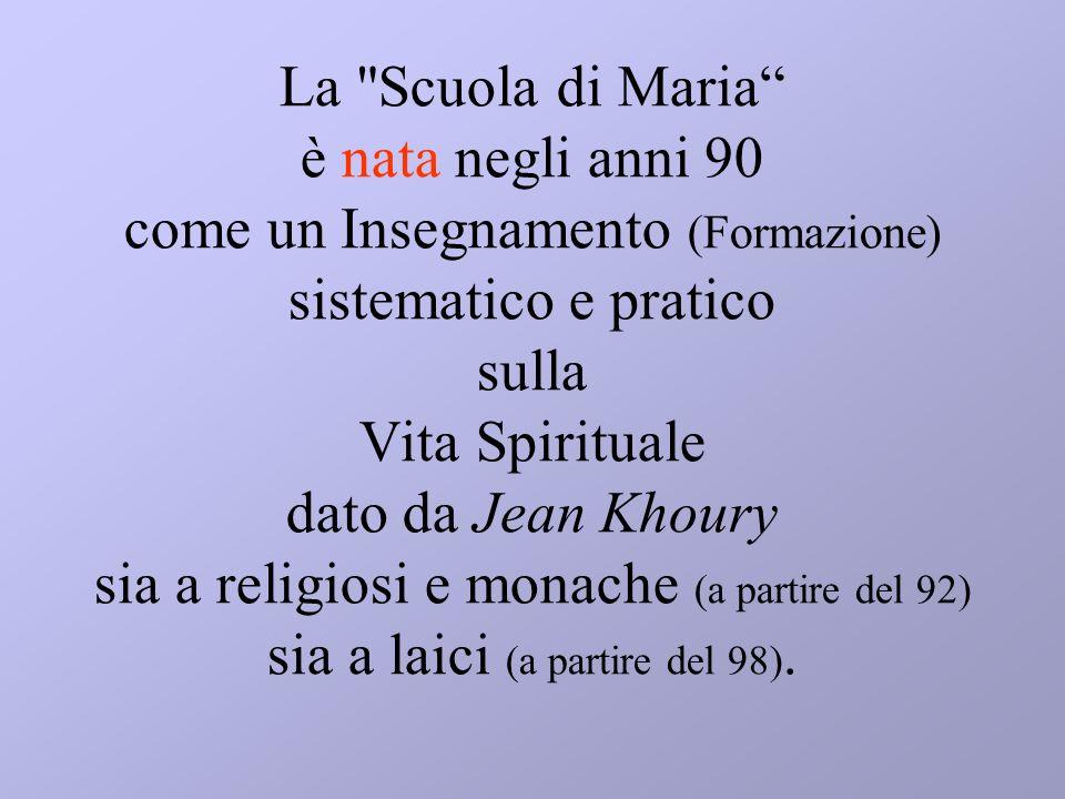 La Scuola di Maria è nata negli anni 90 come un Insegnamento (Formazione) sistematico e pratico sulla Vita Spirituale dato da Jean Khoury sia a religiosi e monache (a partire del 92) sia a laici (a partire del 98).