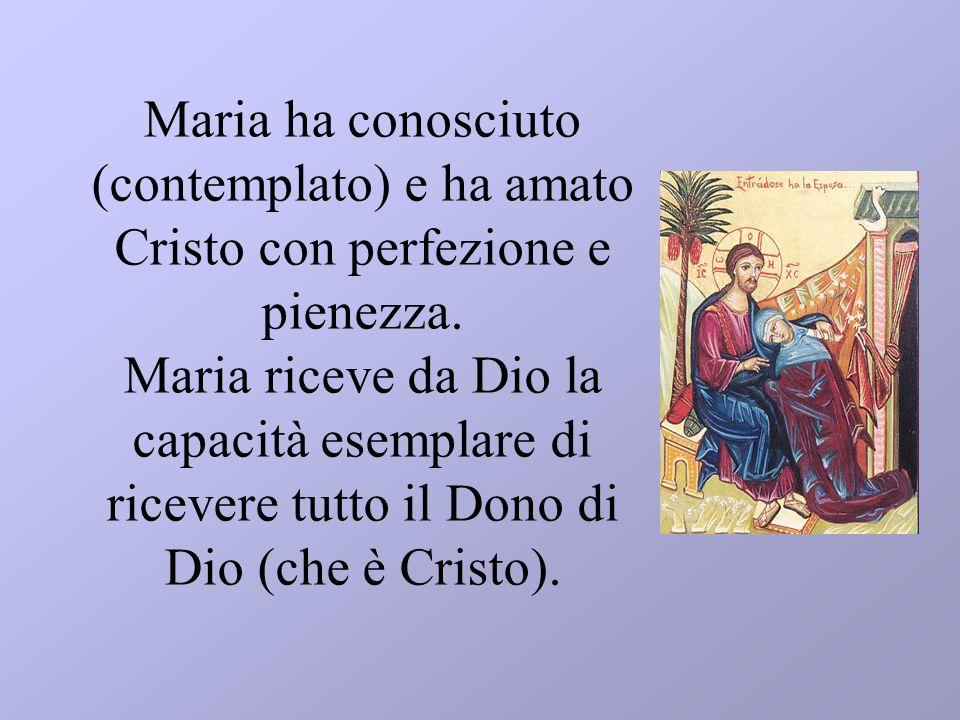 Maria ha conosciuto (contemplato) e ha amato Cristo con perfezione e pienezza.