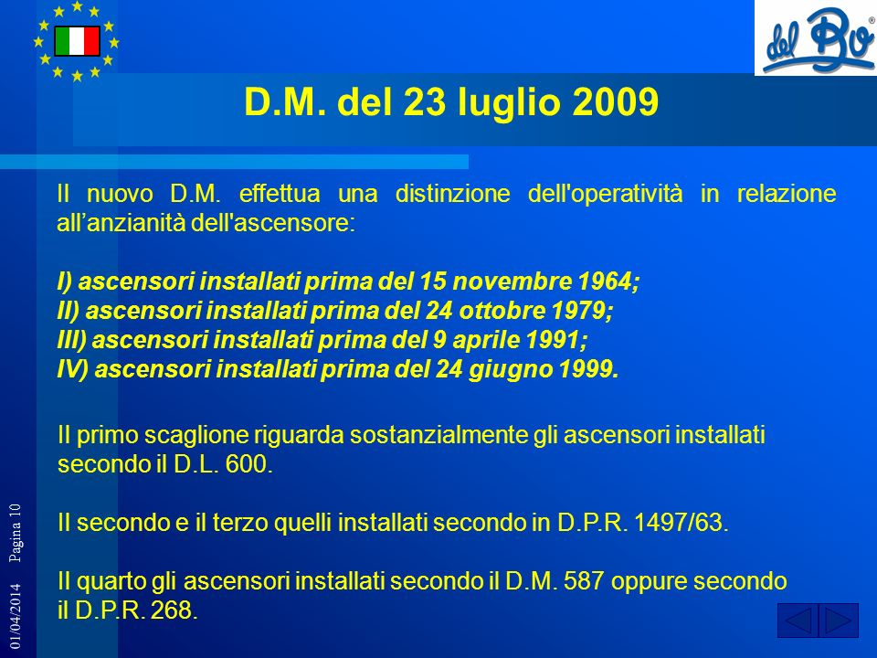 D.M. del 23 luglio 2009 Il nuovo D.M. effettua una distinzione dell operatività in relazione all'anzianità dell ascensore: