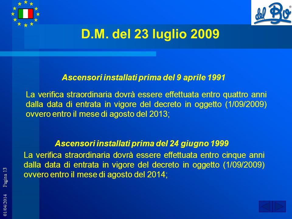 D.M. del 23 luglio 2009 Ascensori installati prima del 9 aprile 1991
