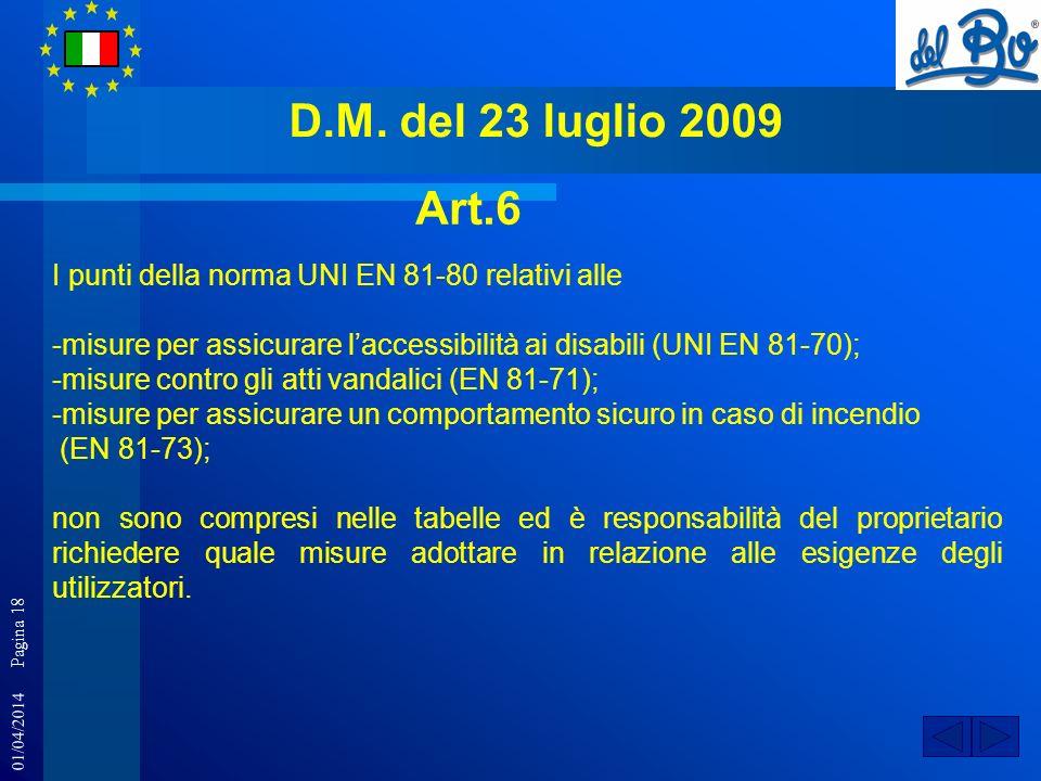 D.M. del 23 luglio 2009 Art.6. I punti della norma UNI EN 81-80 relativi alle. -misure per assicurare l'accessibilità ai disabili (UNI EN 81-70);