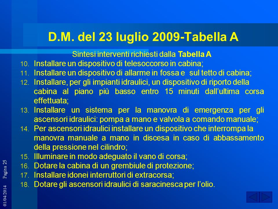 D.M. del 23 luglio 2009-Tabella A