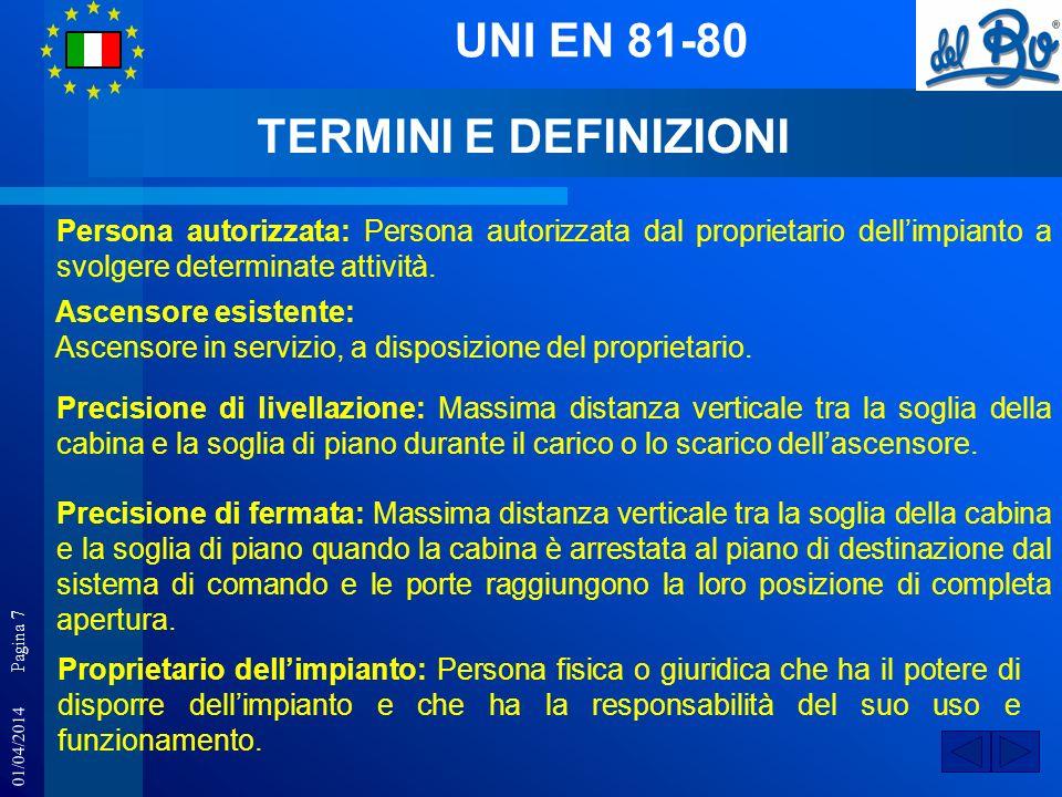 UNI EN 81-80 TERMINI E DEFINIZIONI