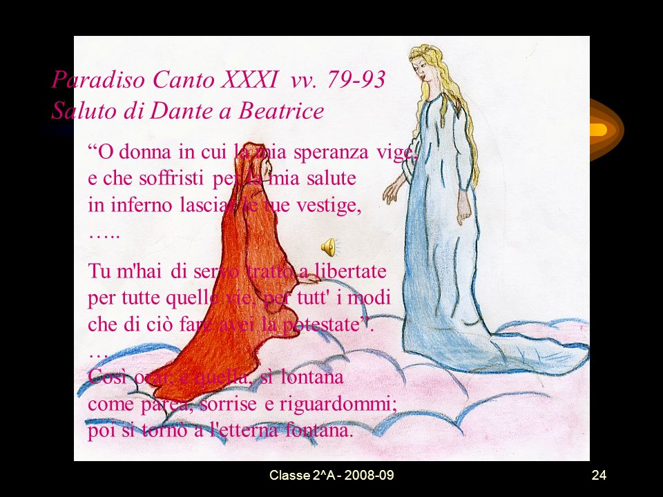 Paradiso Canto XXXI vv. 79-93 Saluto di Dante a Beatrice