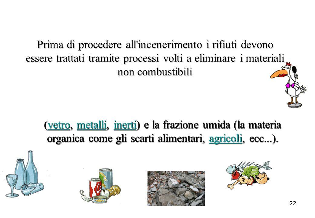 Prima di procedere all incenerimento i rifiuti devono essere trattati tramite processi volti a eliminare i materiali non combustibili