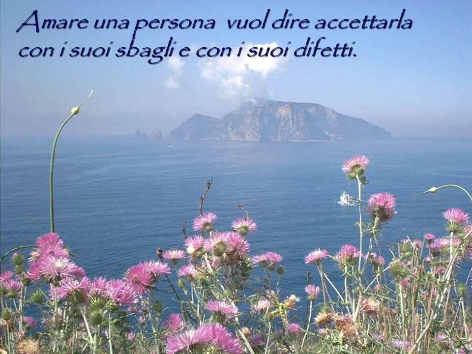 Amare una persona vuol dire accettarla con i suoi sbagli e con i suoi difetti.