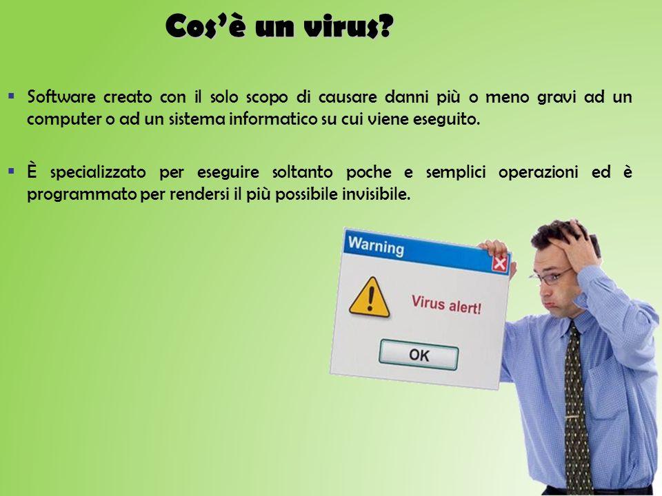 Cos'è un virus Software creato con il solo scopo di causare danni più o meno gravi ad un computer o ad un sistema informatico su cui viene eseguito.