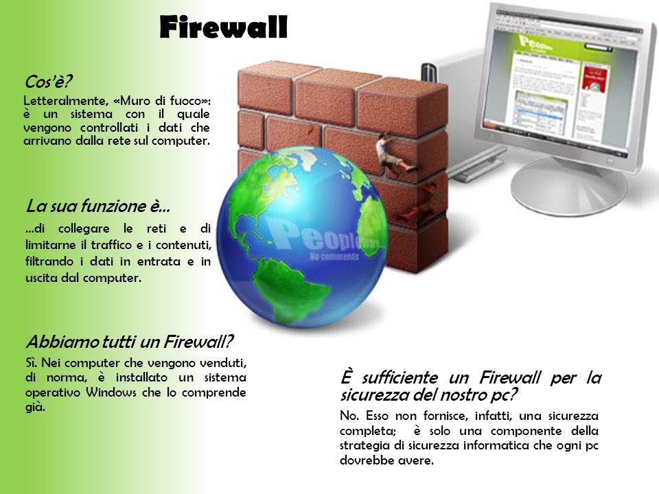 Firewall Cos'è La sua funzione è… Abbiamo tutti un Firewall