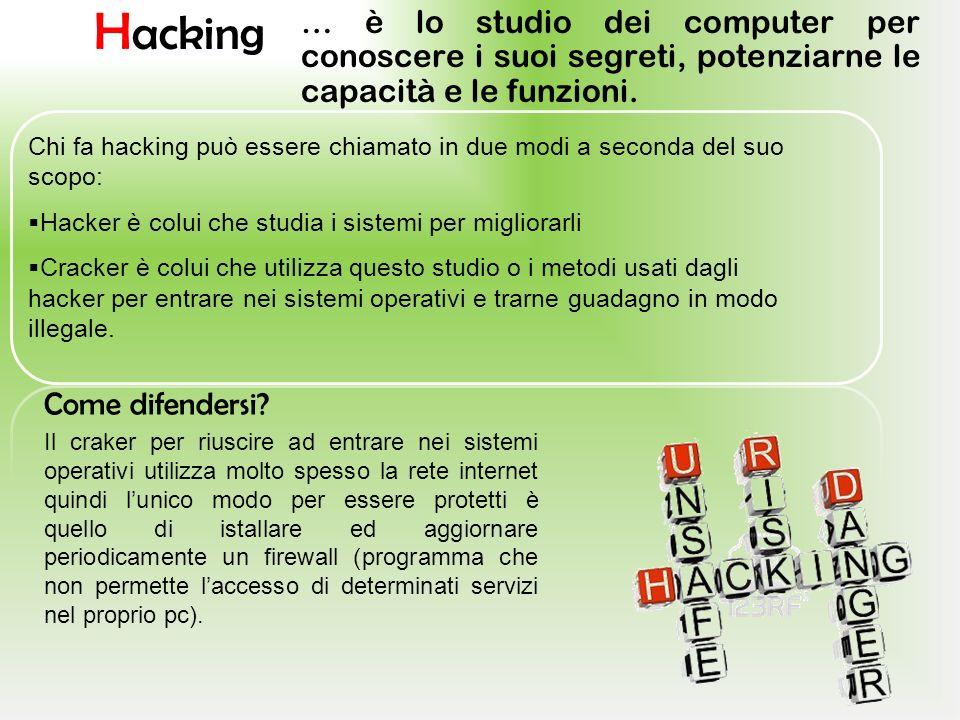 Hacking … è lo studio dei computer per conoscere i suoi segreti, potenziarne le capacità e le funzioni.