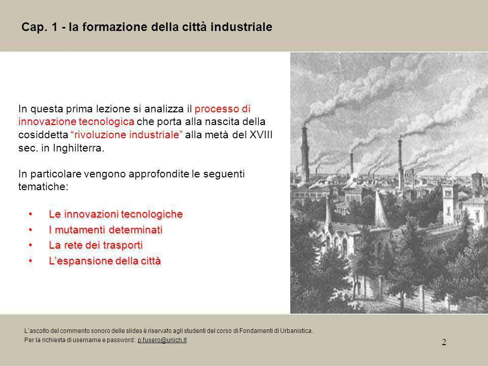 Cap. 1 - la formazione della città industriale