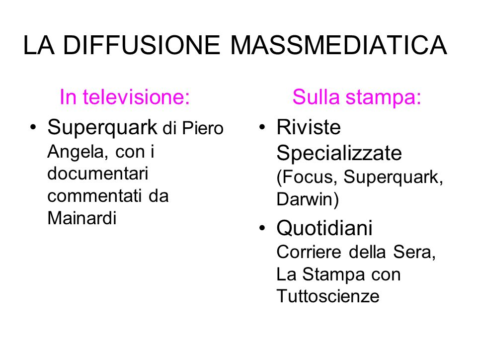 LA DIFFUSIONE MASSMEDIATICA