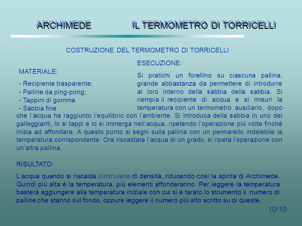 IL TERMOMETRO DI TORRICELLI