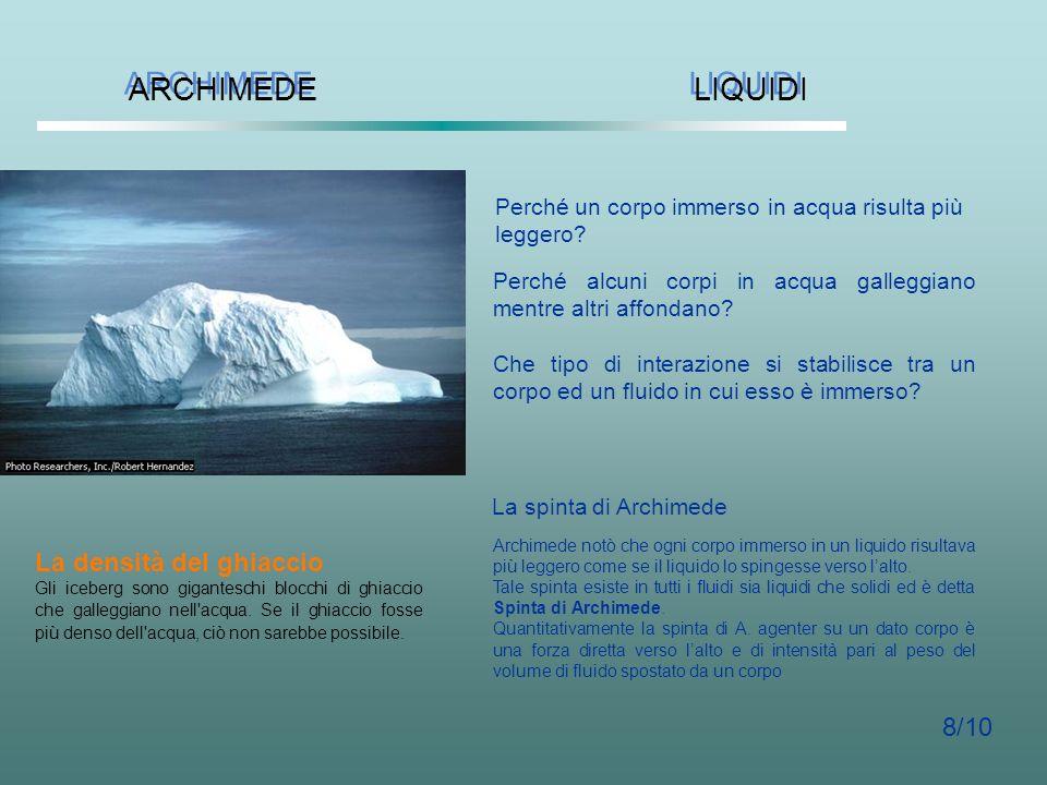 ARCHIMEDE LIQUIDI La densità del ghiaccio 8/10