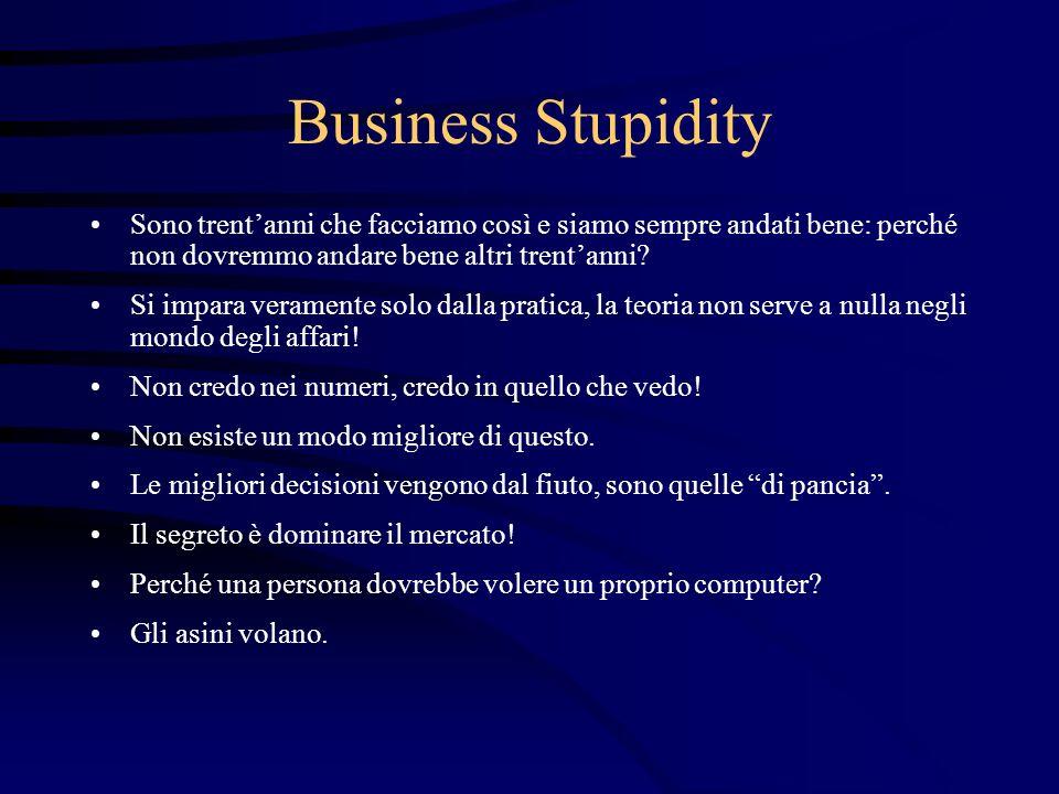 Business Stupidity Sono trent'anni che facciamo così e siamo sempre andati bene: perché non dovremmo andare bene altri trent'anni