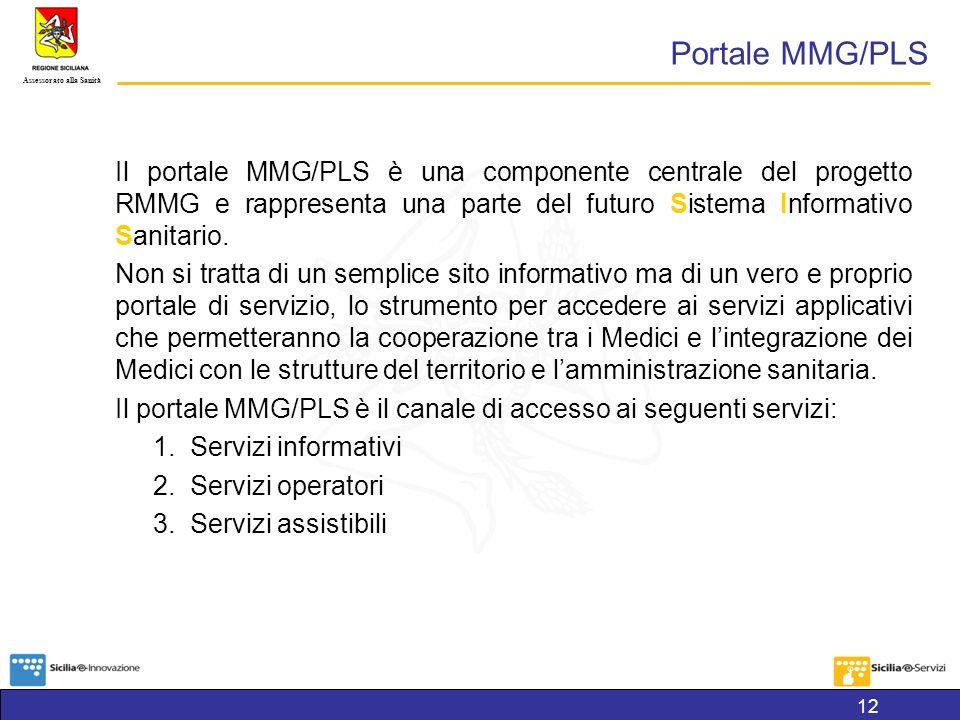 Portale MMG/PLS Il portale MMG/PLS è una componente centrale del progetto RMMG e rappresenta una parte del futuro Sistema Informativo Sanitario.