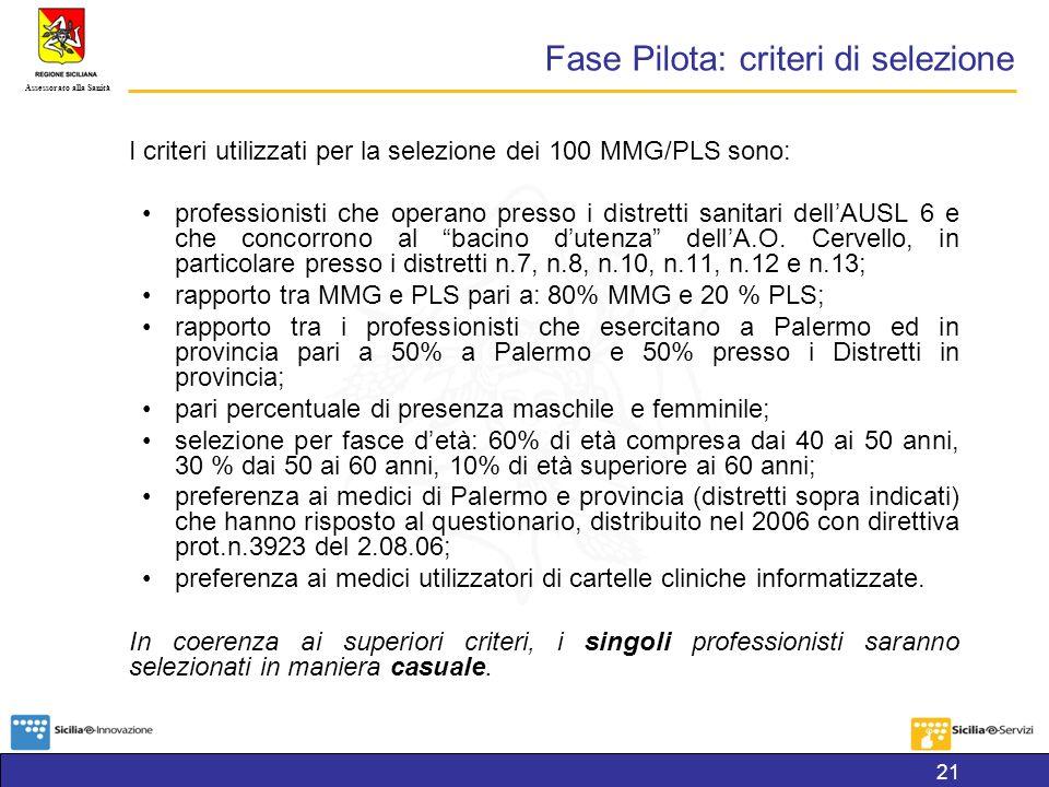 Fase Pilota: criteri di selezione