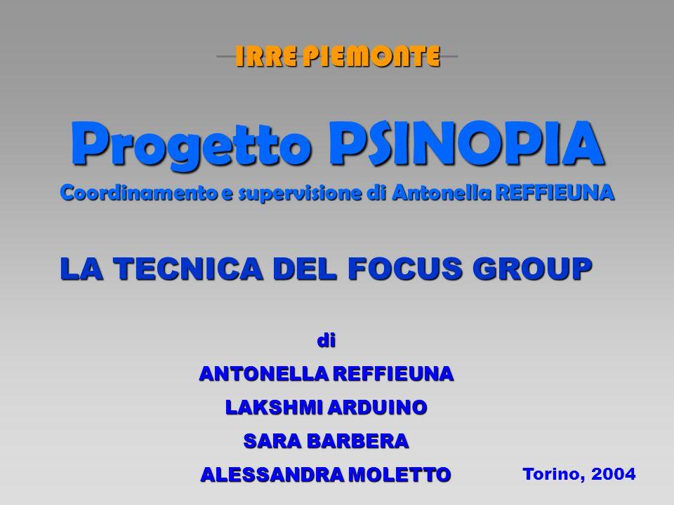 Progetto PSINOPIA Coordinamento e supervisione di Antonella REFFIEUNA