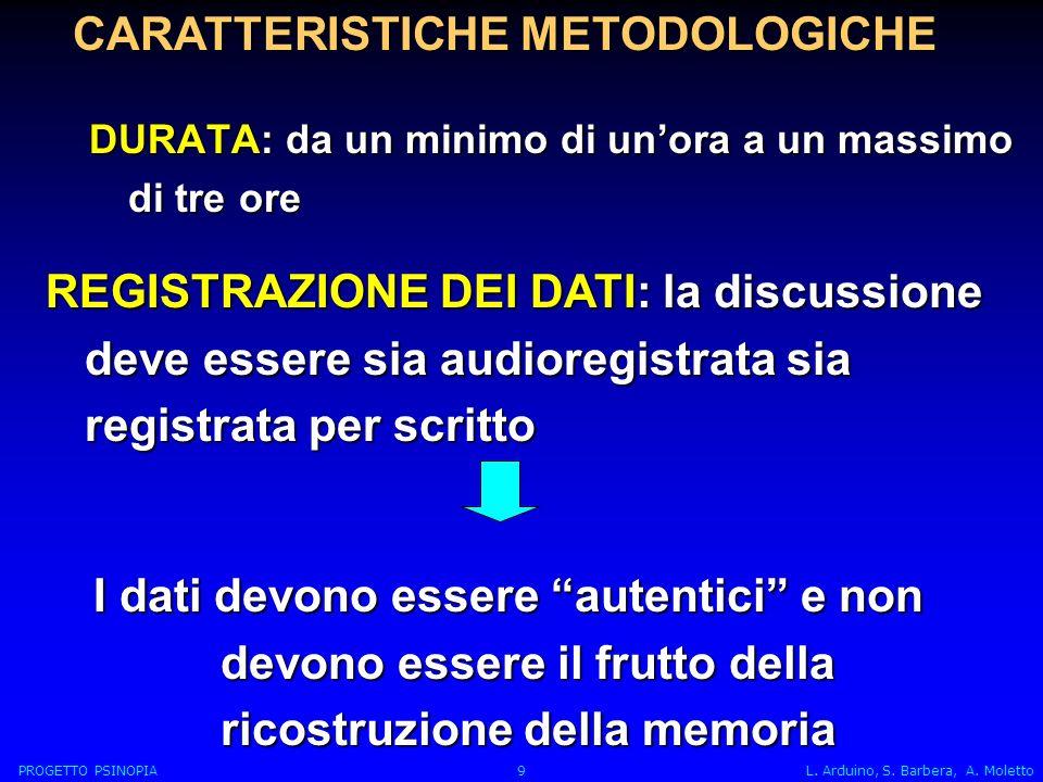 CARATTERISTICHE METODOLOGICHE