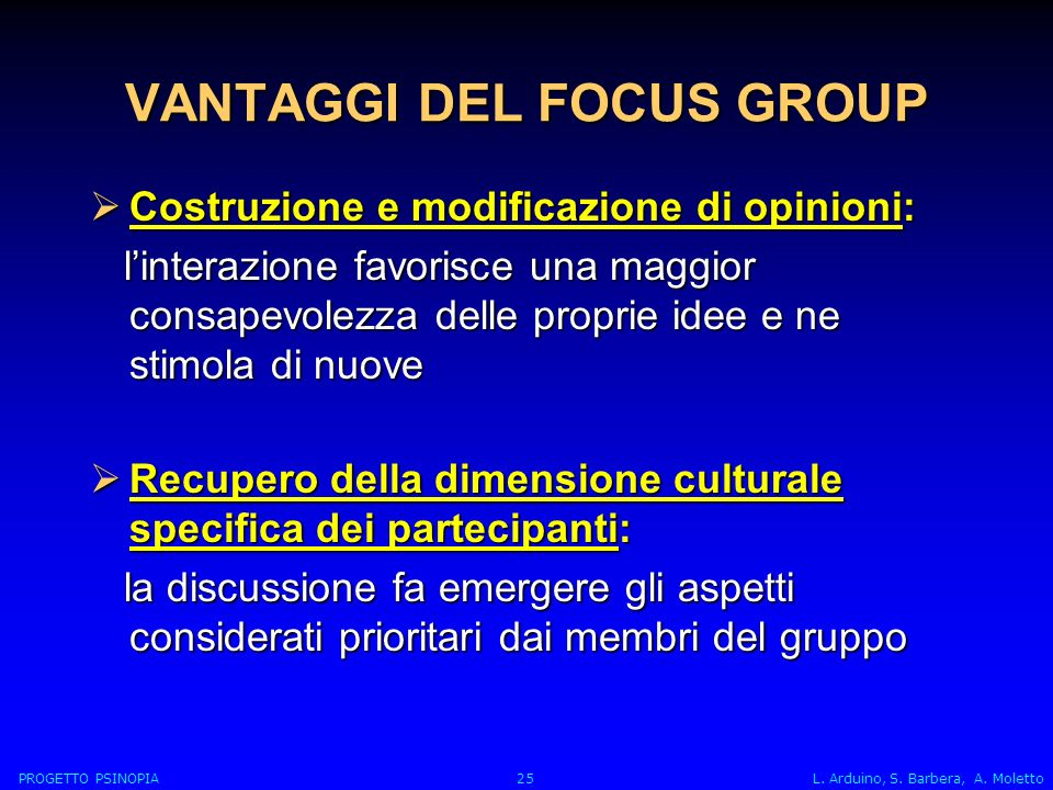 VANTAGGI DEL FOCUS GROUP