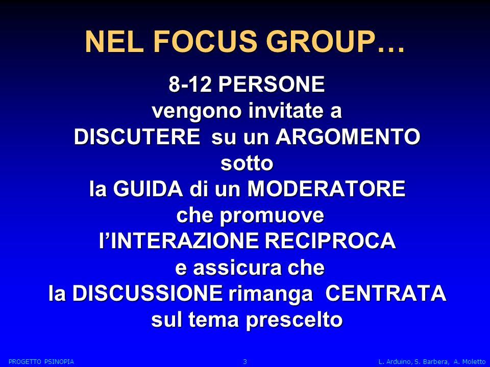 NEL FOCUS GROUP… 8-12 PERSONE vengono invitate a