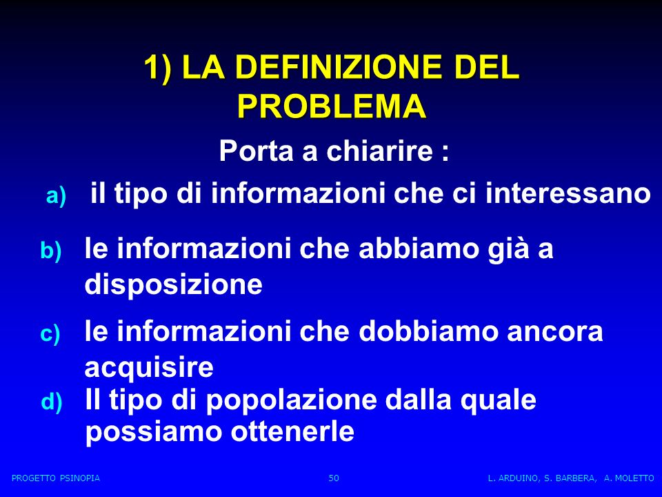 1) LA DEFINIZIONE DEL PROBLEMA