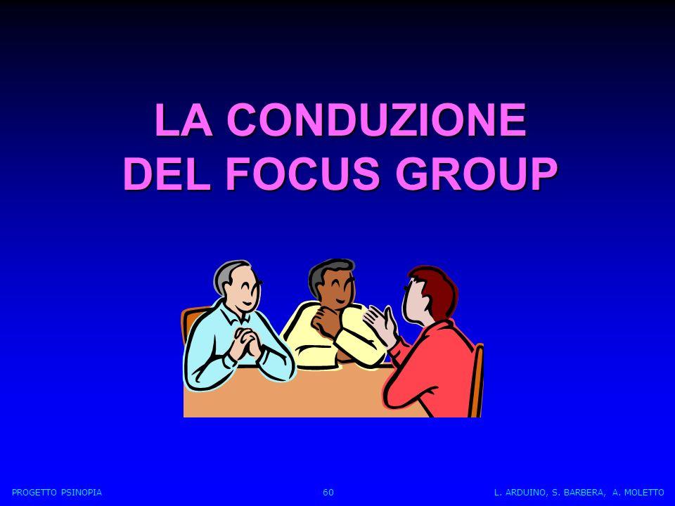 LA CONDUZIONE DEL FOCUS GROUP