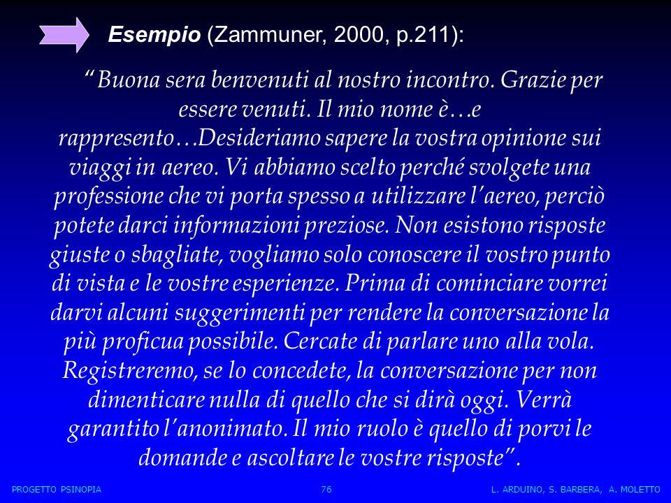 Esempio (Zammuner, 2000, p.211):
