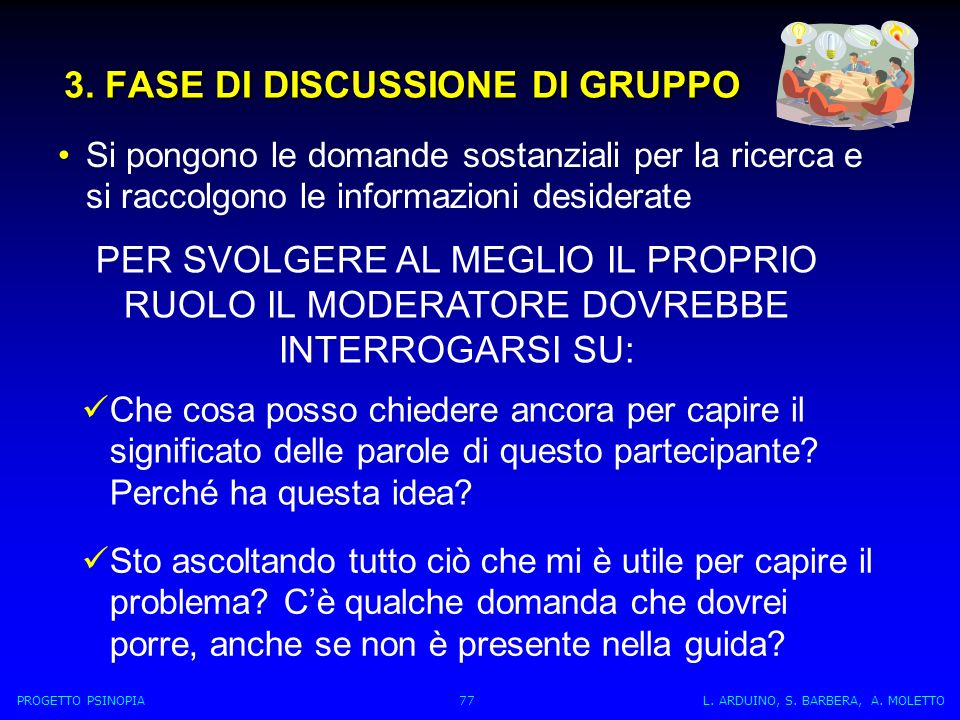 3. FASE DI DISCUSSIONE DI GRUPPO
