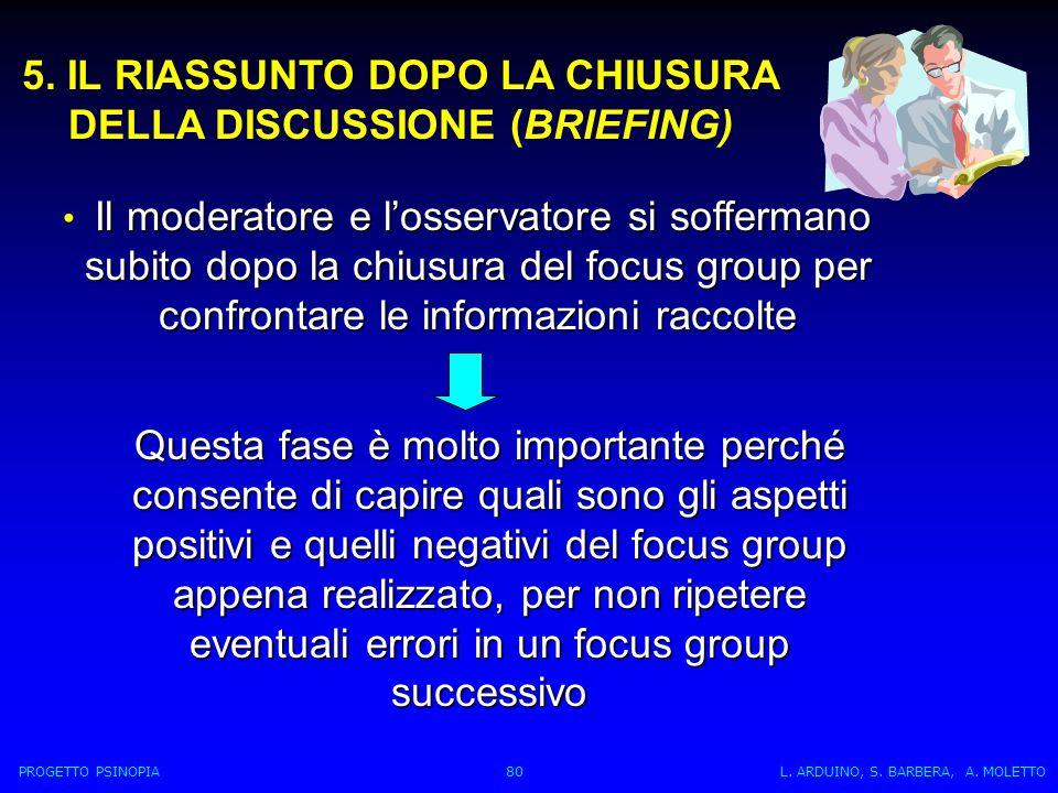 5. IL RIASSUNTO DOPO LA CHIUSURA DELLA DISCUSSIONE (BRIEFING)