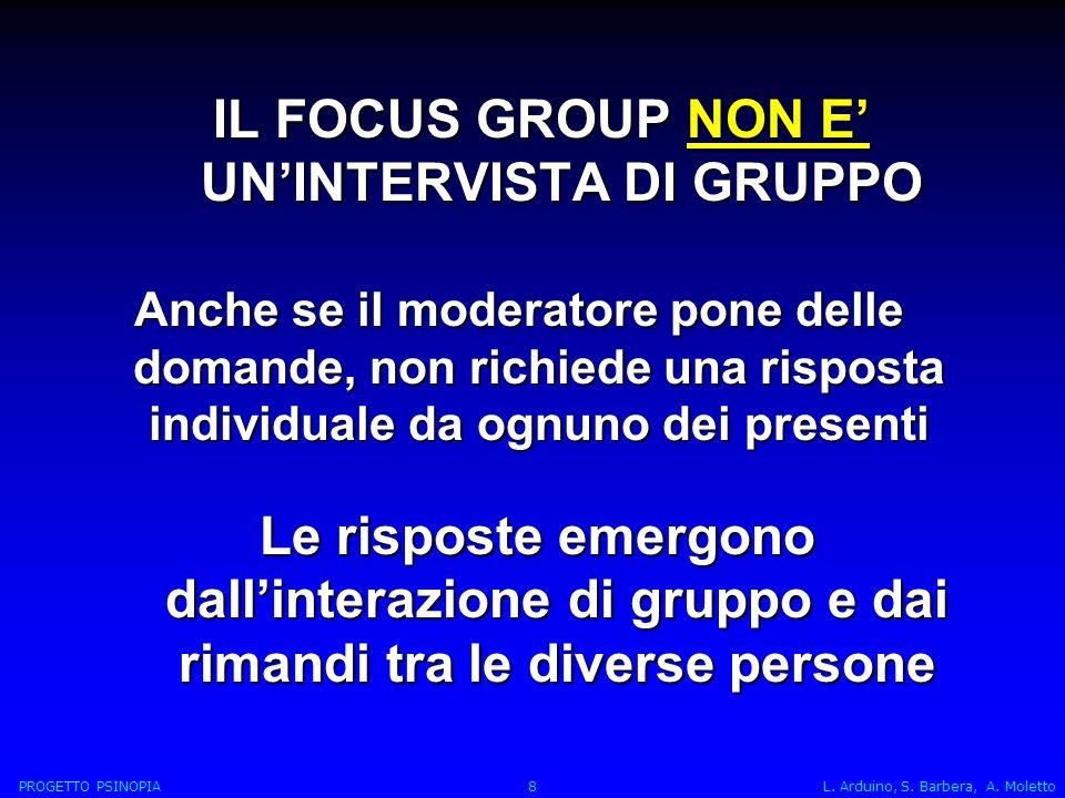 IL FOCUS GROUP NON E' UN'INTERVISTA DI GRUPPO