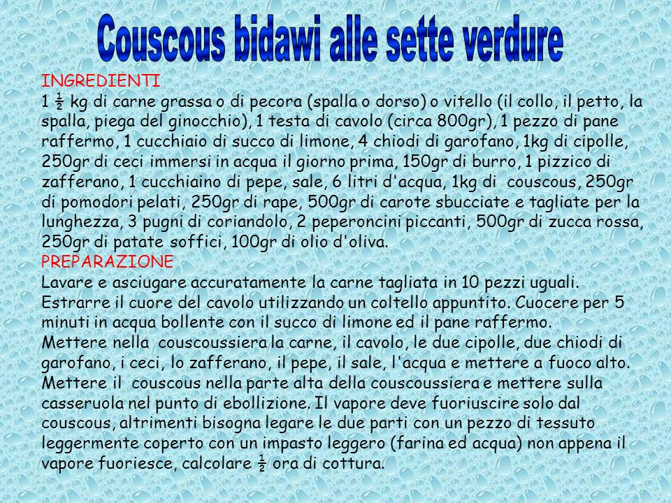 Couscous bidawi alle sette verdure